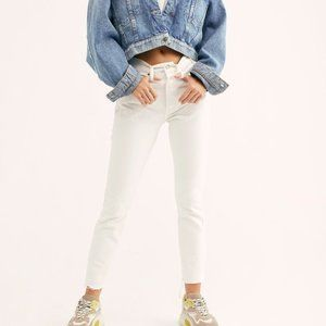 LEVIS 501 HIGH BUTTON FLY WHITE CRYSTALINE JEANS